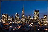 Financial district skyline at dusk. San Francisco, California, USA ( color)
