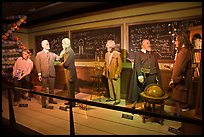 Wax figures of scientists with one outlier, Madame Tussauds. San Francisco, California, USA