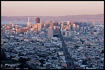 San Francisco cityscape with last sunlight from Twin Peaks. San Francisco, California, USA ( color)