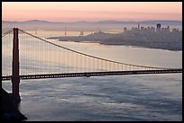 Golden Gate Bridge, San Francisco, and Bay Bridge at dawn. San Francisco, California, USA ( color)