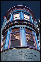 Brightly painted blue tower of Victorian house, Haight-Ashbury District. San Francisco, California, USA ( color)