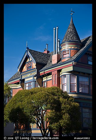 Red victorian house, Haight-Ashbury District. San Francisco, California, USA (color)
