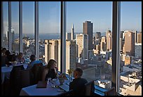 View on San-Francisco downtown from rooftop restaurant. San Francisco, California, USA ( color)