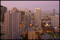 High-rise buildings and SF MOMA at dusk from above. San Francisco, California, USA ( color)