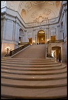 Interior grand stairs, City Hall. San Francisco, California, USA ( color)