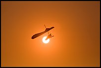 Hang glider in front of setting sun. San Francisco, California, USA (color)