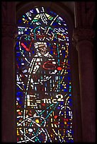 Stained glass window with Einstein figure and famous energy equation, Grace Cathedral. San Francisco, California, USA ( color)