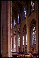 Nave and stained glass windows, Grace Cathedral. San Francisco, California, USA ( color)