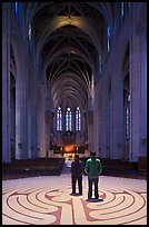 Men standing on the Labyrinth, Grace Cathedral. San Francisco, California, USA ( color)