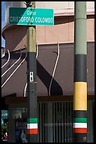 Italian flags painted on lamp posts and name of street in Italian, Little Italy, North Beach. San Francisco, California, USA ( color)