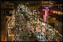 Third Street Promenade by night. Santa Monica, Los Angeles, California, USA (color)
