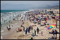 Crowded beach in summer. Santa Monica, Los Angeles, California, USA (color)