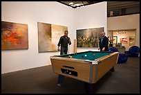 Playing pool inside a contemporary art gallery, Bergamot Station. Santa Monica, Los Angeles, California, USA