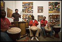 Alan Tarbell, his artworks, and African drums that inspired him, Bergamot Station. Santa Monica, Los Angeles, California, USA