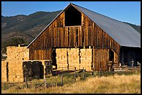 Barn and hay, Yreka. California, USA