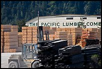 Lumber and forklift, Pacific Lumber Company, Scotia. California, USA (color)