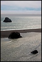 Shimmering waters, Mouth of the Russian River, Jenner. Sonoma Coast, California, USA (color)