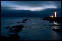 Night coastal scene with ocean and Lighthouse, Point Arena. California, USA ( color)