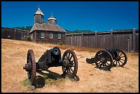 Cannons and chapel, Fort Ross Historical State Park. Sonoma Coast, California, USA