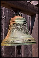Bell with inscriptions in Cyrilic script, Fort Ross Historical State Park. Sonoma Coast, California, USA