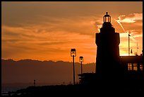 Lighthouse, yacht club, sunrise. San Francisco, California, USA ( color)