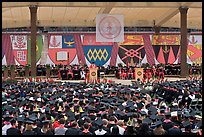 University President addresses graduates during commencement. Stanford University, California, USA (color)