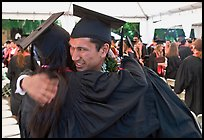 Just graduated students hugging each other. Stanford University, California, USA (color)