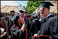 Students after graduation ceremony. Stanford University, California, USA (color)