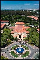 Fountain and Memorial auditorium seen from Hoover Tower. Stanford University, California, USA