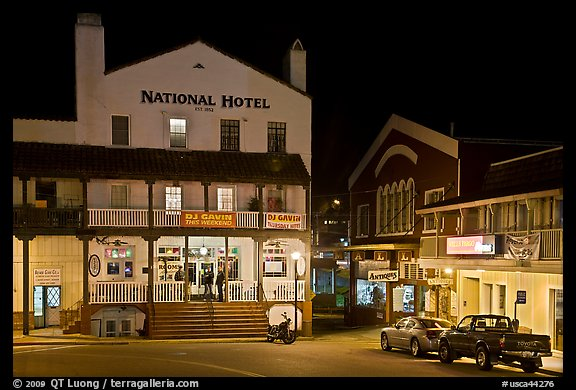 National Hotel by night, one of California oldest, Jackson. California, USA (color)