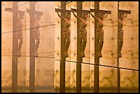 Multiple reflections of Christ, mausoleum, Christ the Light Cathedral. Oakland, California, USA
