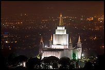 Church of Jesus Christ of LDS by night. Oakland, California, USA (color)