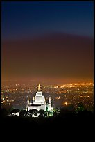 Oakland california temple and SF Bay by night. Oakland, California, USA (color)