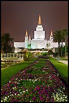 Oakland LDS temple and grounds by night. Oakland, California, USA ( color)