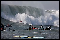 Waverunners and surfer in big wave. Half Moon Bay, California, USA ( color)