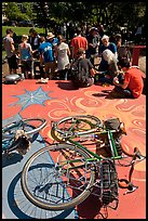 Bicycles and food line, Peoples Park. Berkeley, California, USA