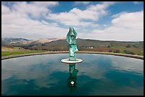 Reflecting pool and sculpture, Artesa Winery. Napa Valley, California, USA (color)