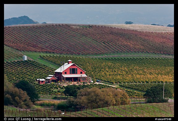 Red barn and wine country landscape from above. Napa Valley, California, USA