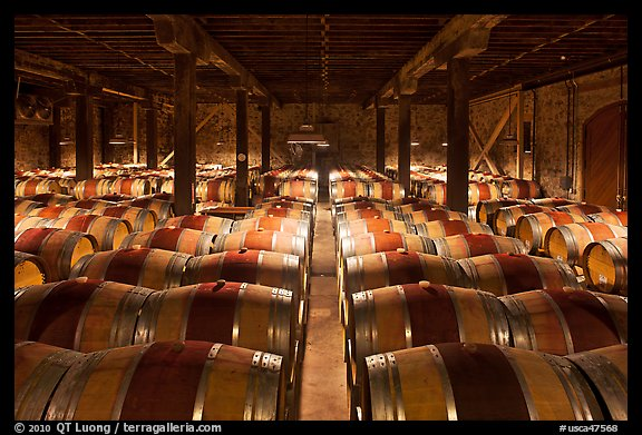 Wine cellar, Hess Collection winery. Napa Valley, California, USA