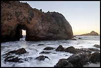 Pfeiffer Beach arch at sunset. Big Sur, California, USA
