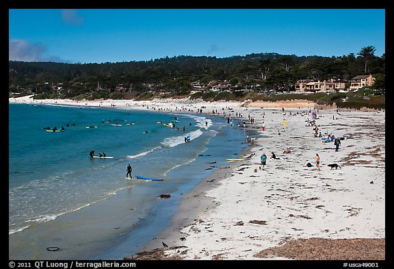 Beachgoers on Carmel Beach. Carmel-by-the-Sea, California, USA (color)