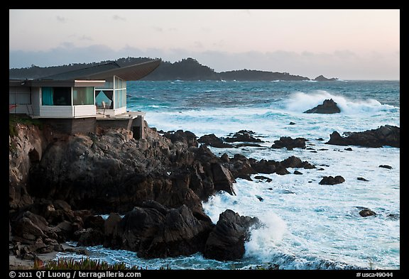 Butterfly house and waves. Carmel-by-the-Sea, California, USA (color)