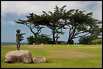 Sculpture, lawn, and cypress, Lovers Point Park. Pacific Grove, California, USA ( color)