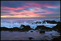 Wave crashing on rock at sunset. Point Lobos State Preserve, California, USA ( color)