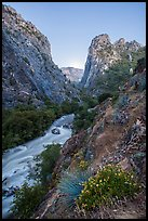 Windy Cliffs and South Fork of the Kings River Gorge, dusk. Giant Sequoia National Monument, Sequoia National Forest, California, USA ( )