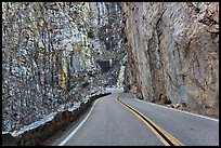 Road through vertical canyon walls. Giant Sequoia National Monument, Sequoia National Forest, California, USA ( color)