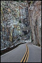 Roadway meandering through vertical gorge. Giant Sequoia National Monument, Sequoia National Forest, California, USA ( color)