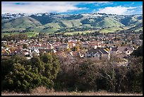 Evergreen Valley and hills in winter. San Jose, California, USA ( color)