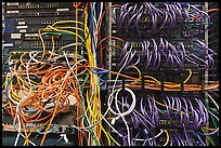 Unorganized server wires. Menlo Park,  California, USA ( color)