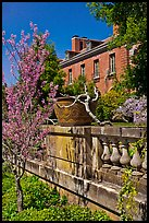 Balustrade, blossoms, and house, Filoli estate. Woodside,  California, USA (color)